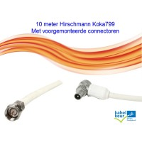 Hirschmann Koka 799 Coaxkabel 10 meter met F en Coax IEC connector male of female (zwart of wit)